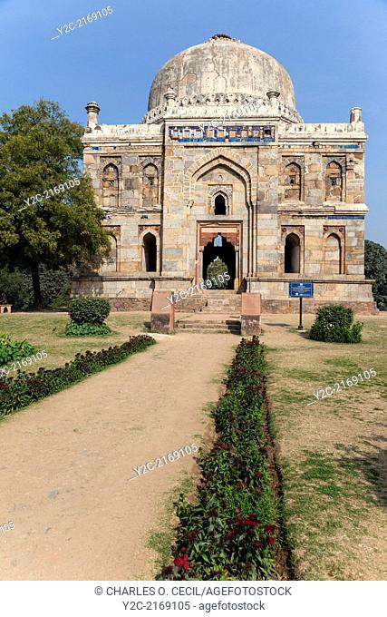 """New Delhi, India. Lodi Gardens. Sheesh Gumbad (""""""""Glazed Dome""""""""), with remnants of Blue Tiles. Late 15th. Century"""