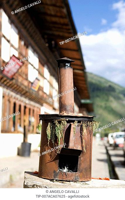 Bhutan. Paro. Incense burner