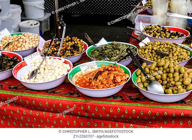 Olives on sale at the Shaftsbury food festival
