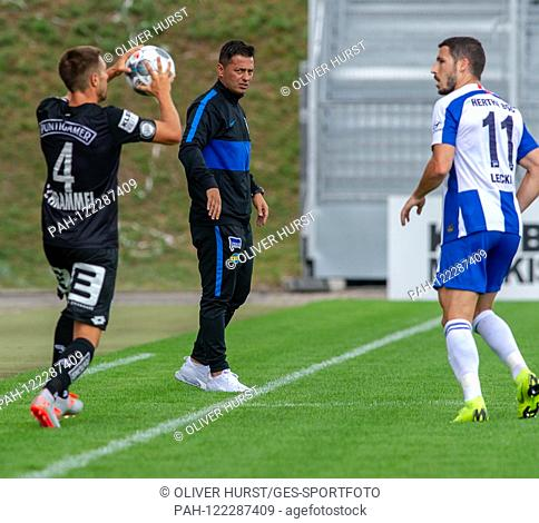 Coach Ante Covic (Hertha BSC) (left), left Thomas Schrammel (SK Sturm Graz) and right Mathew Leckie (Hertha BSC) GES / football / KSC blitz tournament: SK Sturm...