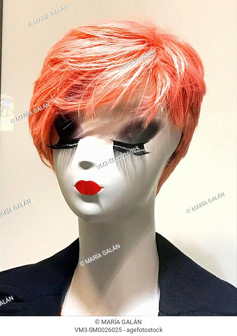 Mannequin in a shop window. Close view