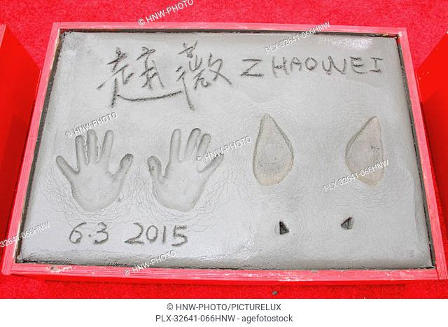 Zhao Wei's hand and footprints 06/03/2015 88th Birthday Commemoration Of TCL Chinese Theater IMAX held at the TCL Chinese Theatre in Hollywood