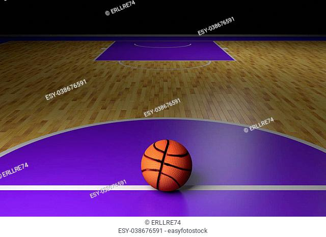 3d rendering of a basketball court