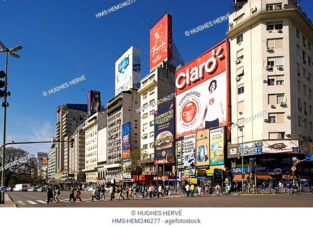 Argentina, Buenos Aires, 9 de Julio Avenue, the largest avenue in the world