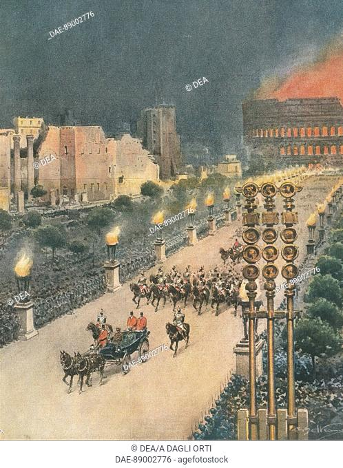 World War II - 20th century - Triumphal entry of Adolf Hitler in Rome. Drawing by Achille Beltrame (1871-1945) on the Italian weekly newspaper 'La Domenica del...