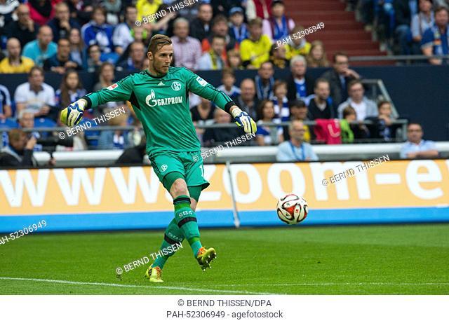 Schalke's goalkeeper Ralf Faehrmann in action during the German Bundesliga soccer match between FC Schalke 04 and Borussia Dortmund at Veltins Arena in...