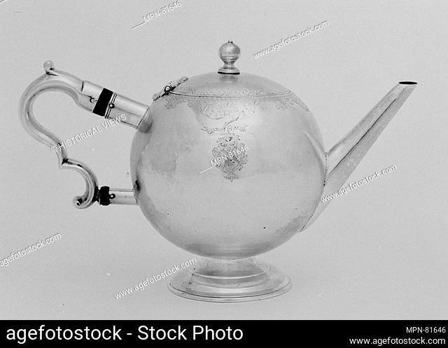 Teapot. Maker: Kenneth McKenzie (active 1714-after 1733); Date: 1733-34; Culture: Scottish, Edinburgh; Medium: Silver, wood; Dimensions: Height: 7 1/4 in