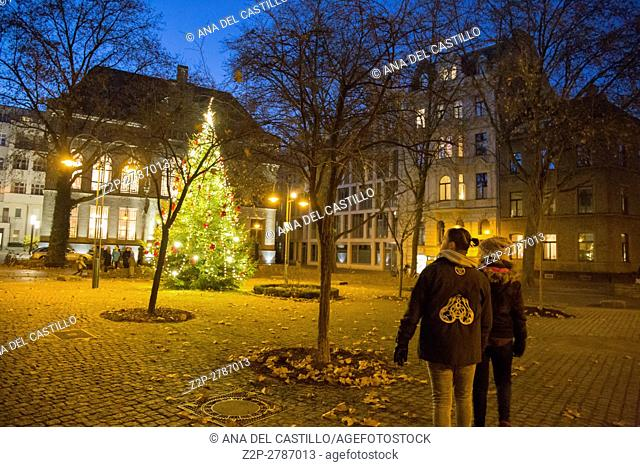 Christmas tree opposite St Gereon church in Cologne on Dec 4, 2016 in Germany