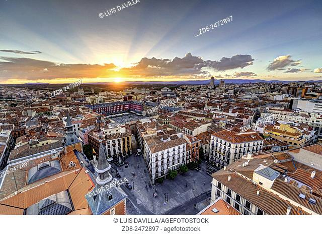 Plaza Mayor or Main Square in Madrid center. Spain