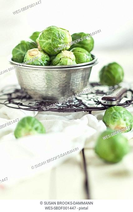 Peeled brussel sprouts in tin bucket, knife, studio