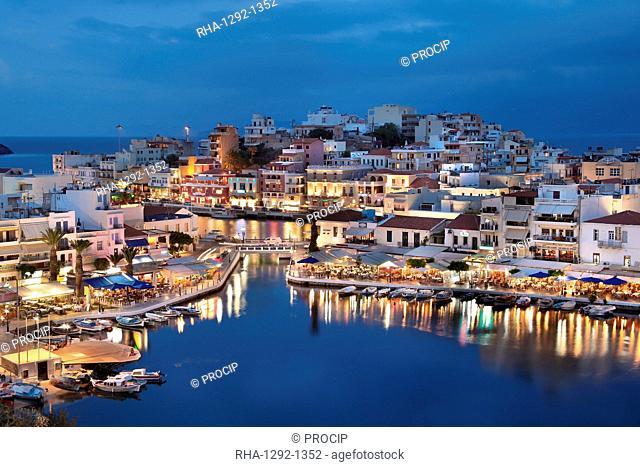Lake Voulismeni and Port of Agios Nikolaos, Crete Island, Greek Islands, Greece, Europe
