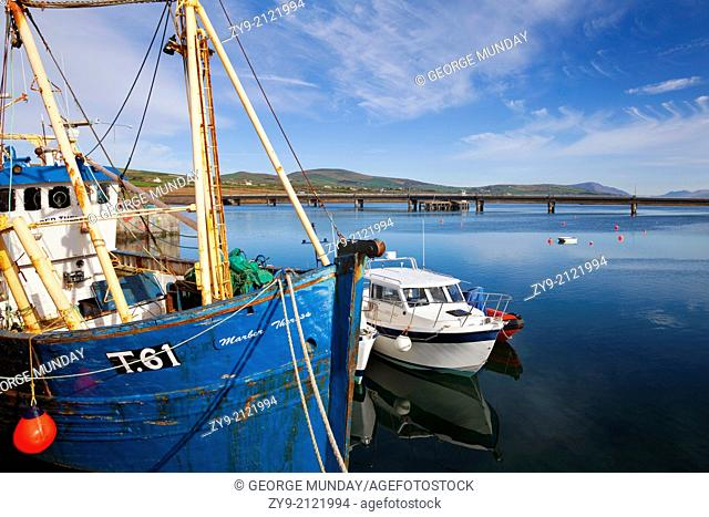 Bridge to Valentia Island and Fishing Harbour at Portmagee on The Ring of Kerry, County Kerry, Ireland