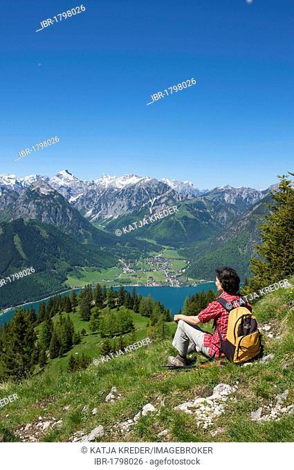 Durrakreuz viewpoint, woman enjoying the view of Lake Achensee, Tyrol, Austria, Europe