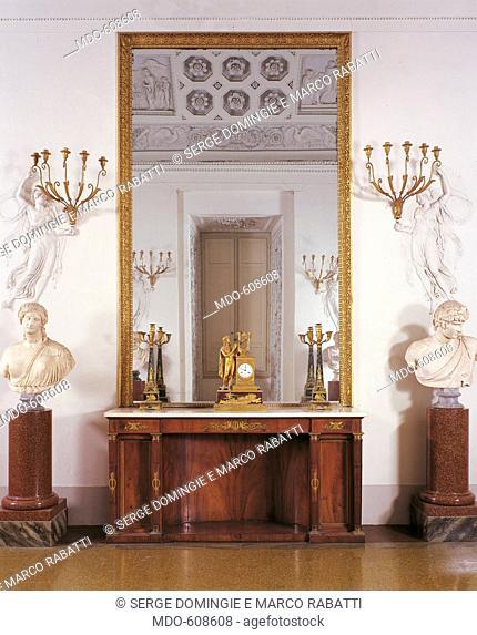 Cupboard, by Solci Giuseppe, 19th Century, 1823 -1826, mahogany veneered, gilt metal applications, cm 214,5 x 106,5 x 60,5