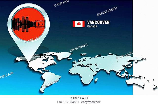 Map pin with Vancouver skyline
