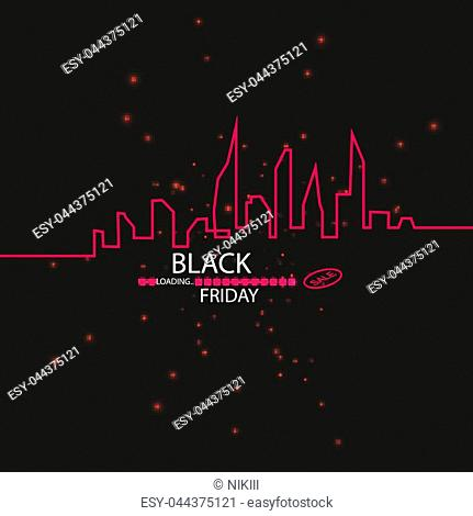 Black Friday. Great sale. Text and banner on the background of a large red flash with luminous dust. Cover for the project. Vector illustration