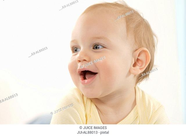 Close up of baby laughing