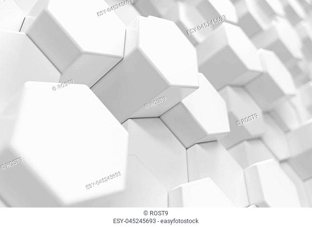 3D Rendering white geometric hexagonal abstract background