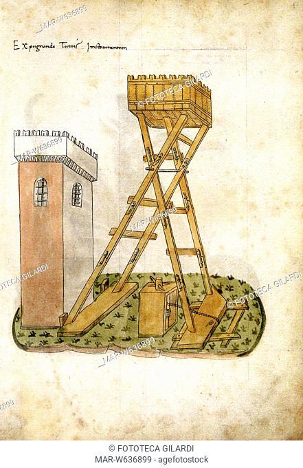ARMI Congegno per raggiungere le torri di una fortezza durante un attacco bellico, riportato dallo storico Roberto Valturio (1405-1475) nel libro X della sua...