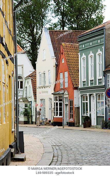 Historic houses, street in Tondern or Tonder, South Denmark