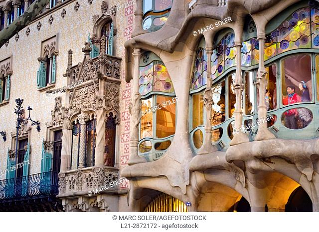 Detail of buildings. Windows and balconies. Amatller House by Puig i Cadafalch. Batllo House by Antoni Gaudi­ Passeig de Gracia, Barcelona, Catalonia, Spain