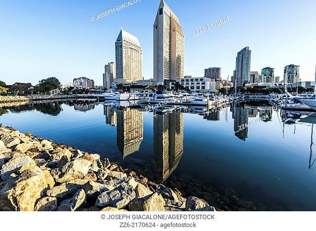 Downtown buildings at Embarcadero Marina. San Diego,California, United States