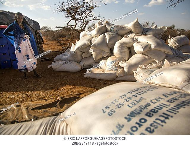 Food aid bags given to Borana people during the drought, Oromia, Yabelo, Ethiopia
