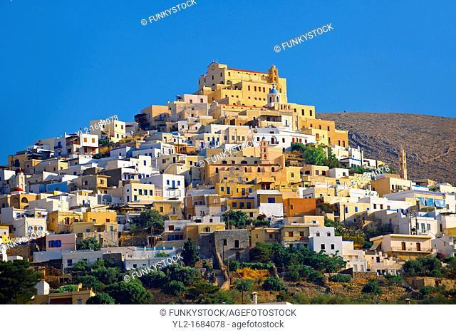The Venitian City qurter of Ano Syros topped by the Catholic basilica of San Giorgio, Syros  ΣύρÎÏ,  , Greek Cyclades Islands