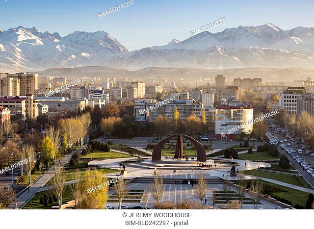 Victory Square near Kyrgyz Range, Bishkek, Frunze, Kyrgyzstan