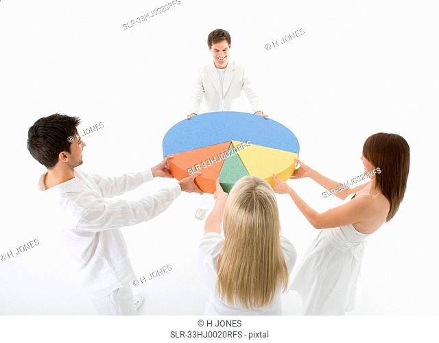 People fighting over pie chart