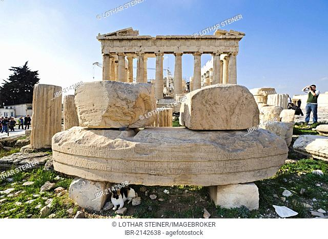 Remains of the Temple of Roma and Augustus in front of the Parthenon, Acropolis, Athens, Greece, Europe