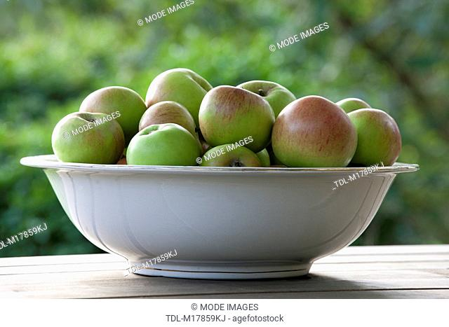 Apples in a ceramic bowl on a wooden table