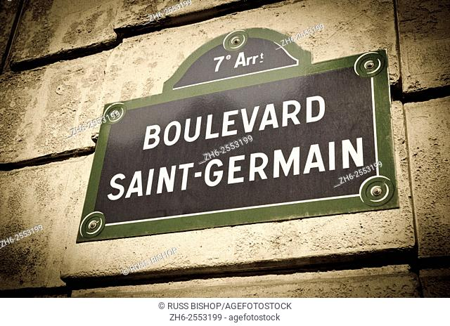 Boulevard Saint-Germain street sign, Paris, France
