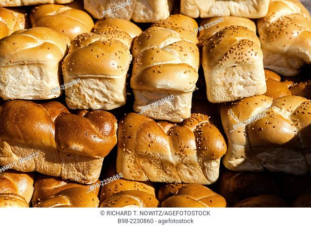 Fresh baked Challah breads, used to celebrate the Friday night Sabbath Meal in the homes of observant Jews