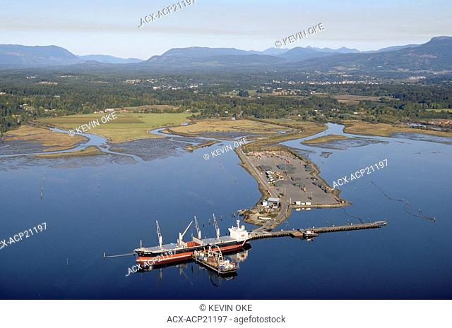 A freighter at the Western Forest Products terminal, Cowichan Bay, Vancouver Island, British Columbia, Canada