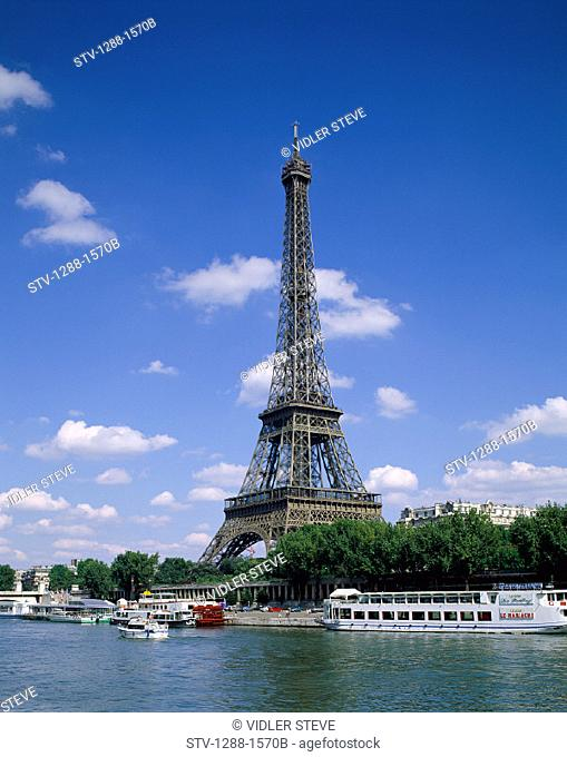 Boat, Eiffel, Eiffel tower, France, Europe, Holiday, Landmark, Monument, Paris, River, Tourism, Tower, Travel, Vacation