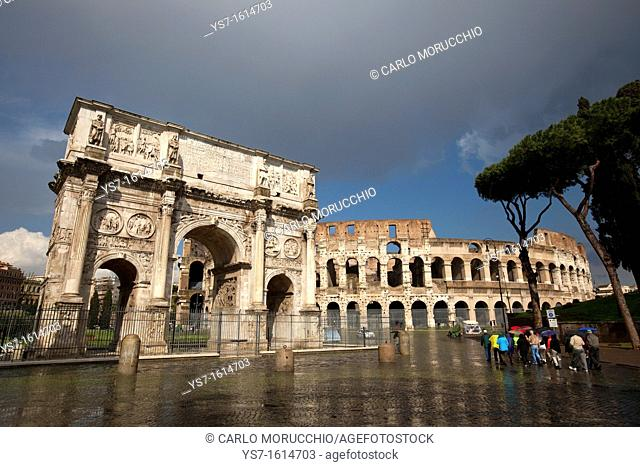 The Arch of Constantine and the Colosseum, Rome, Lazio, Italy, Europe
