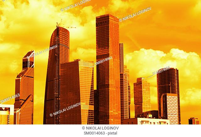 Sunset Moscow city business center backgroundhd
