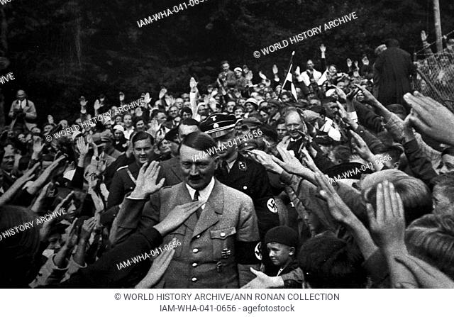 Adolf Hitler 1889-1945. German politician and the leader of the Nazi Party with local supporters at Obersalzberg