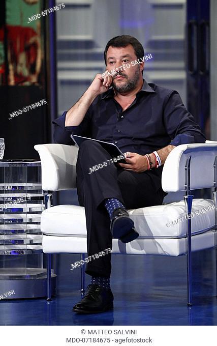 Italian vice-president of the Council Matteo Salvini during the TV show Porta a Porta. Rome, June 26th, 2019