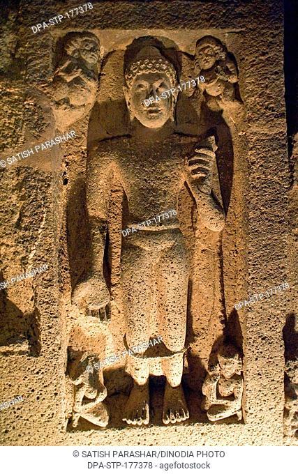 Buddha carve relief at ajanta caves , Aurangabad , Maharashtra , India