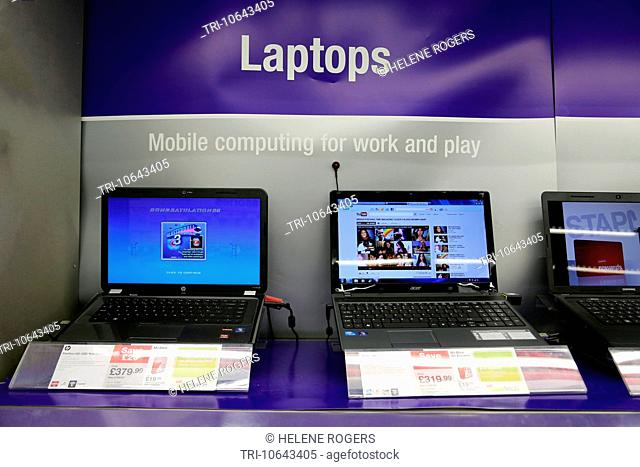 Laptops On Display For Sale At Staples England