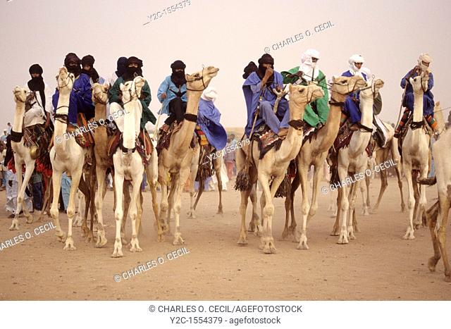 In-Gall, near Agadez, Niger  Tuaregs Parading Camels at Annual Cure Salé, Annual Gathering of Tuareg Nomads  As is their custom