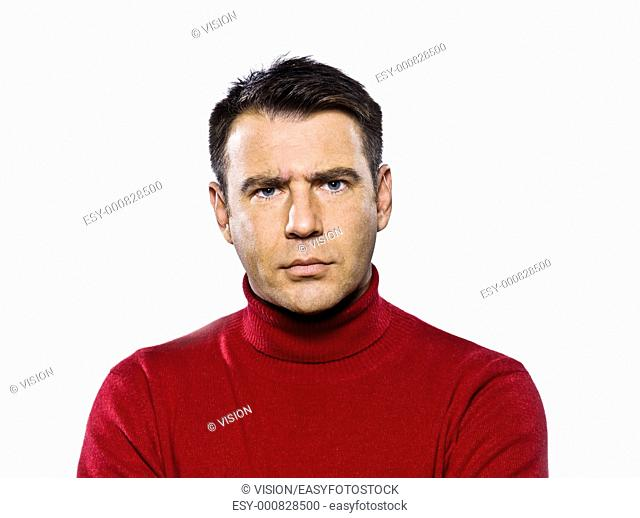 caucasian man displeased frowning studio portrait on isolated white backgound