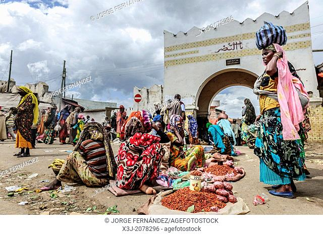 Street market in front of Showa gate, Harar, Ethiopia, Africa