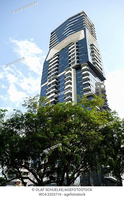 29. 11. 2018, Singapore, Republic of Singapore, Asia - A view of The Scotts Tower condominium designed by the Dutch Architecture firm UNStudio