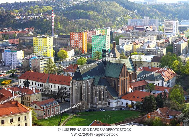 Aerial view of the Abbey of Saint Thomas , where Gregor Mendel established modern genetics and surrounding colorful apartment blocks Brno Czech Republic