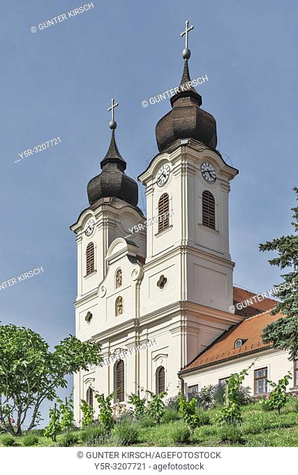 Tihany Abbey was built between 1740 and 1754 in Baroque style. Already in the year 1055 the Benedictine abbey Tihany was founded, Tihany, Komitat Veszprem