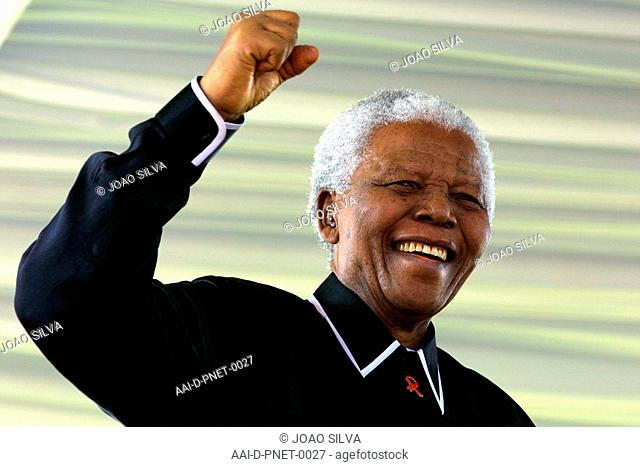 Soweto: South Africa: May 17, 2003: Former South African State President Nelson Mandela is photographed at a funeral service for the deceased ANC leader Walter...