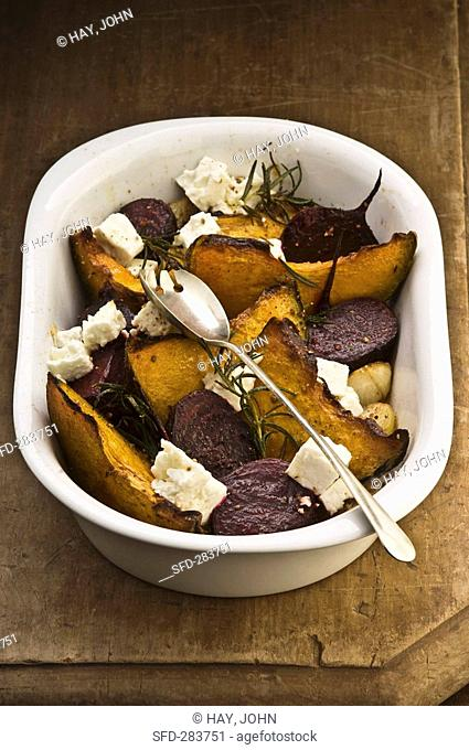 Roasted vegetables with feta and rosemary